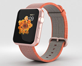 3D model of Apple Watch Series 2 42mm Rose Gold Aluminum Case Space Orange Woven Nylon