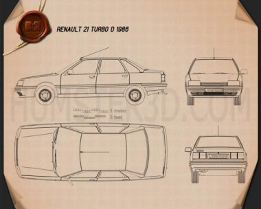 Renault 21 1986 Blueprint