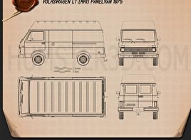 Volkswagen LT Panel Van 1975 Blueprint