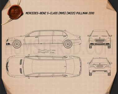 Mercedes-Benz S-Class (W221) Pullman 2012 Blueprint