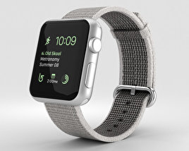 3D model of Apple Watch Series 2 38mm Silver Aluminum Case Pearl Woven Nylon