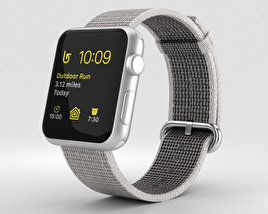 3D model of Apple Watch Series 2 42mm Silver Aluminum Case Pearl Woven Nylon