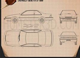 Chevrolet Beretta GT 1988 Blueprint