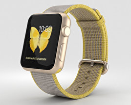 3D model of Apple Watch Series 2 38mm Gold Aluminum Case Yellow Light Gray Woven Nylon