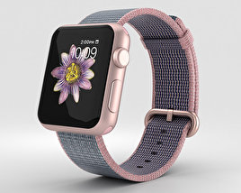 3D model of Apple Watch Series 2 38mm Rose Gold Aluminum Case Pink Blue Woven Nylon