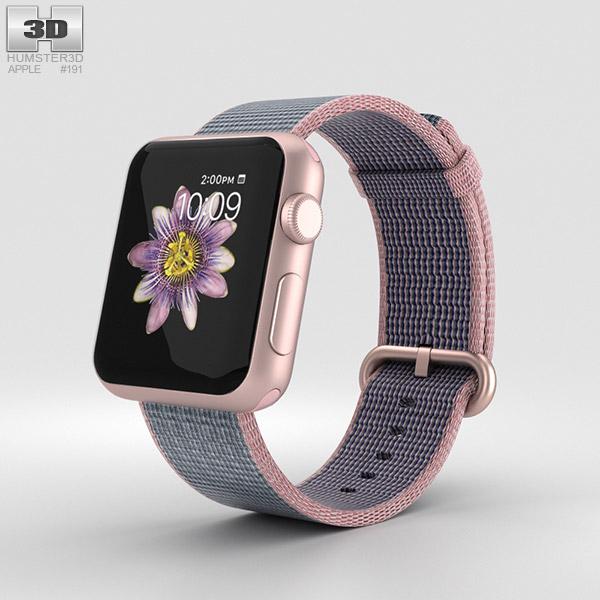 Apple Watch Series 2 38mm Rose Gold Aluminum Case Pink Blue Woven Nylon 3D model