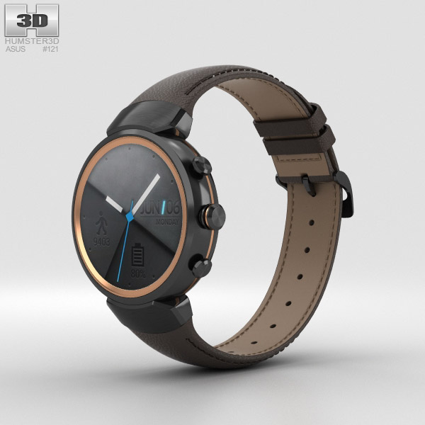 3D model of Asus Zenwatch 3 Gunmetal