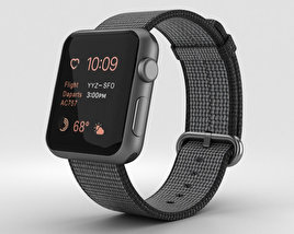 Apple Watch Series 2 38mm Space Gray Aluminum Case Black Woven Nylon 3D model