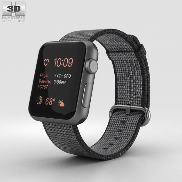 Apple Watch Series 2 38mm Space Gray Aluminum Case Black Woven Nylon 3D model