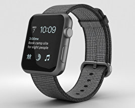 3D model of Apple Watch Series 2 42mm Space Gray Aluminum Case Black Woven Nylon