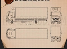 Mercedes-Benz Antos Box Truck 2012 Blueprint