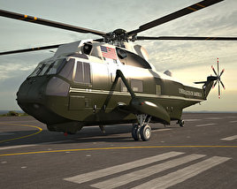 3D model of Marine One Sikorsky VH-3D Sea King