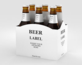 3D model of Paper Pack Beer Carrier Mockup