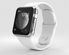 3D model of Apple Watch Series 2 38mm Stainless Steel Case White Sport Band