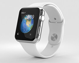 3D model of Apple Watch Series 2 42mm Stainless Steel Case White Sport Band