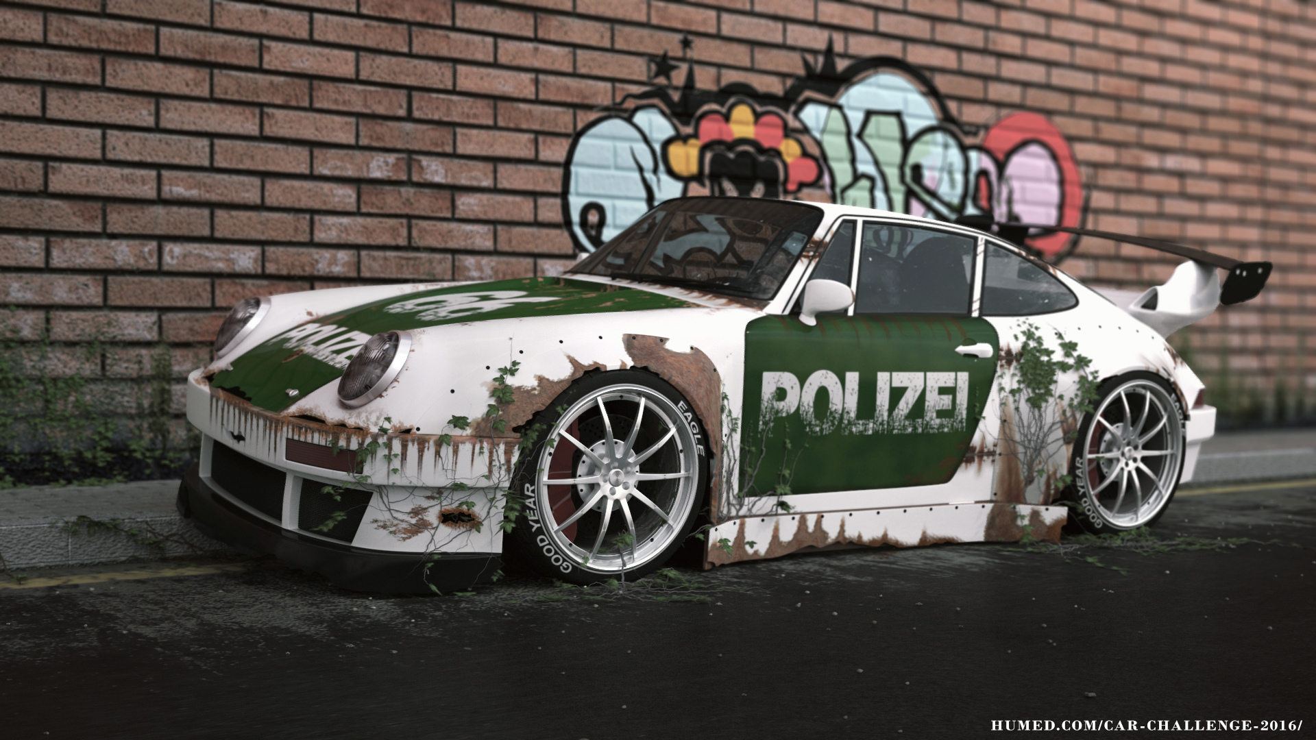 Old police Porsche 993 tuning 3d art