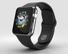 3D model of Apple Watch Series 2 38mm Space Black Stainless Steel Case Black Sport Band