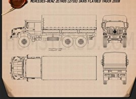 Mercedes-Benz Zetros Flatbed Truck 3-axle 2008 Blueprint