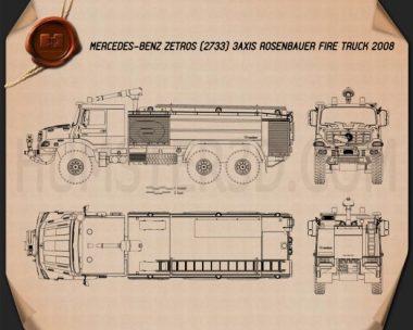 Mercedes-Benz Zetros Rosenbauer Fire Truck 2008 Blueprint