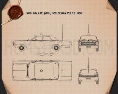 Ford Galaxie 500 Police 1966 Blueprint