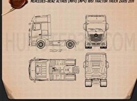 Mercedes-Benz Actros 1851 Tractor Truck 2013 Blueprint