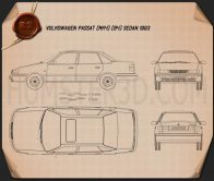 Volkswagen Passat (B4) sedan 1993 Blueprint