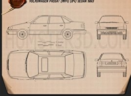 Volkswagen Passat (B4) sedan 1993 Blueprint