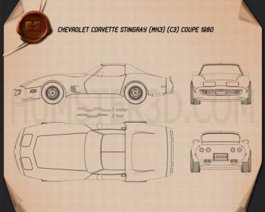 Chevrolet Corvette Stingray (C3) Coupe 1974 Blueprint