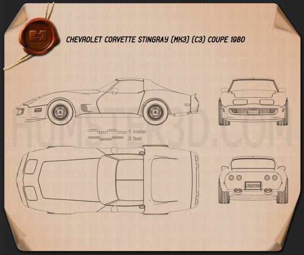 Chevrolet Corvette Stingray (C3) Coupe 1974 Blueprint