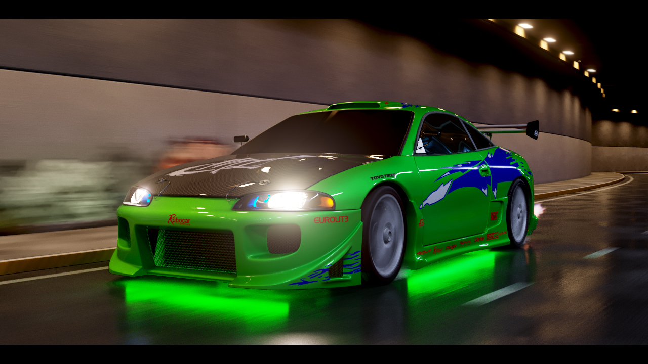 Brian's first car from the movie Fast and the Furious. Mitsubishi Eclipse 3d art