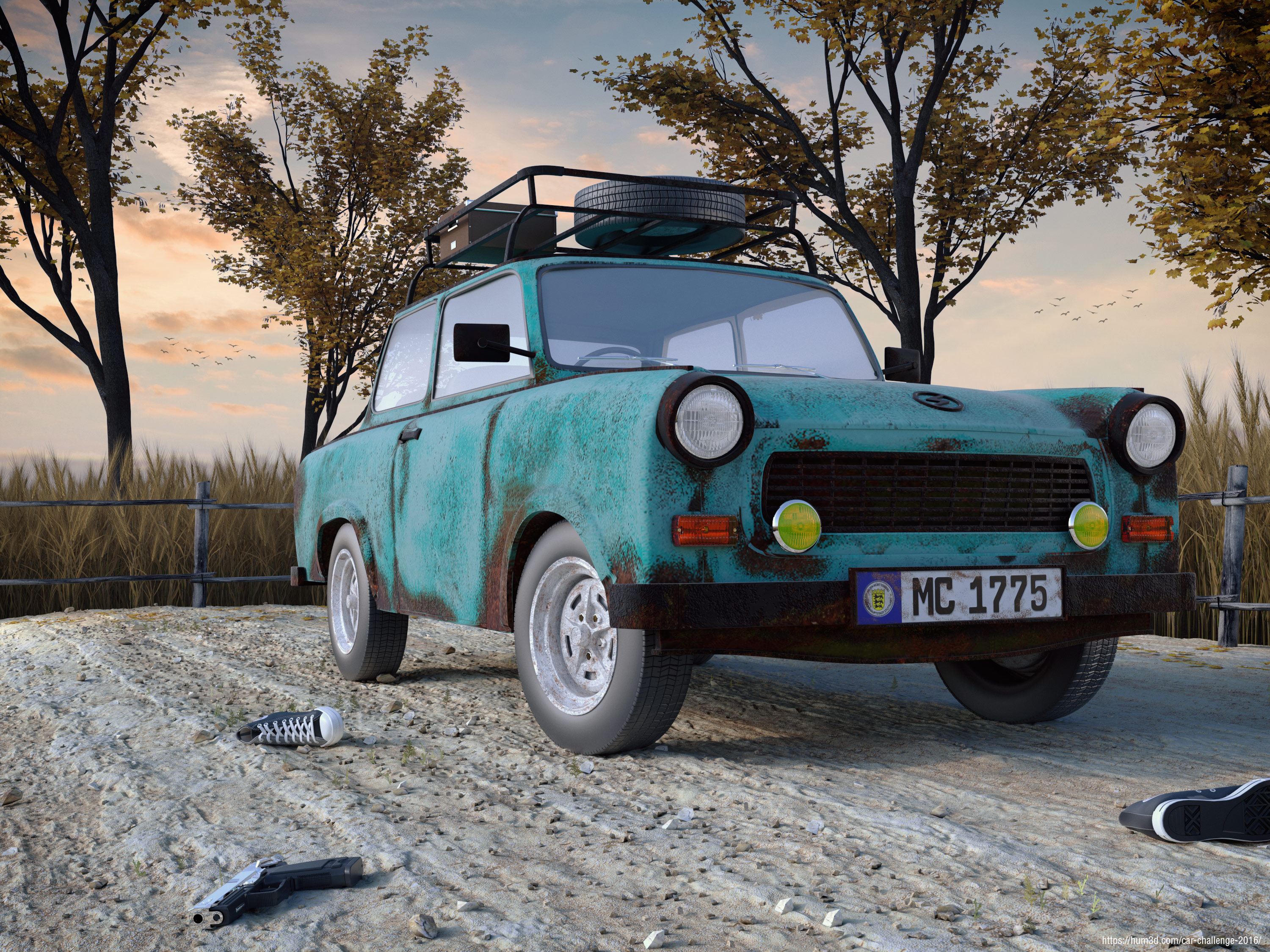 A vintage Trabant waiting for his master 3d art