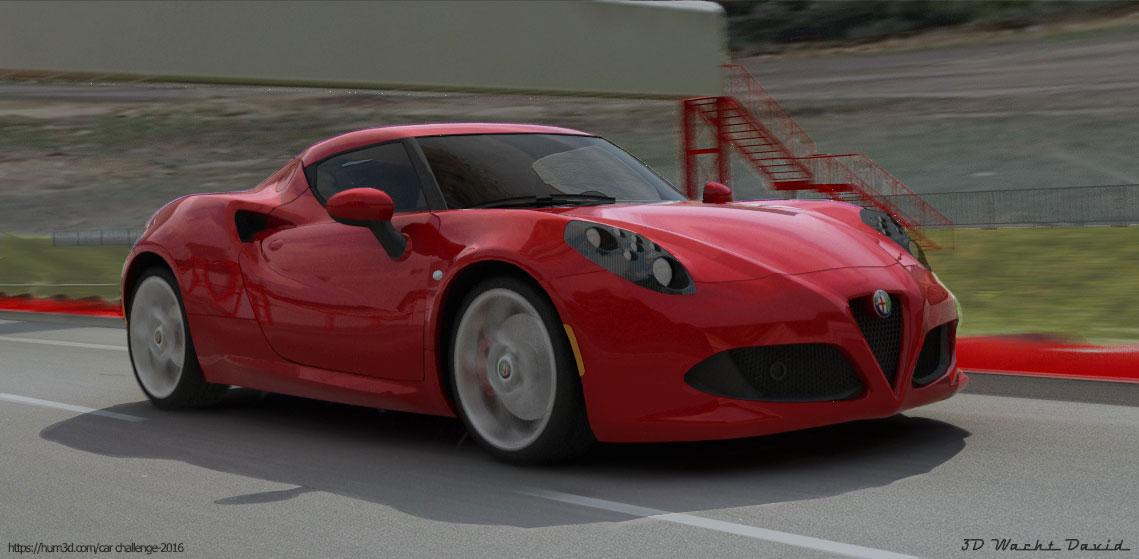 Alfa Roméo 4C on track 3d art