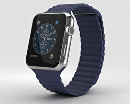 3D model of Apple Watch Series 2 42mm Stainless Steel Case Midnight Blue Leather Loop