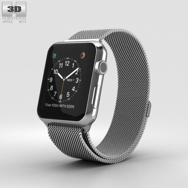 Apple Watch Series 2 42mm Stainless Steel Case Milanese Loop 3D model