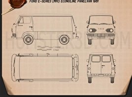 Ford E-Series Econoline Panel Van 1961 Blueprint