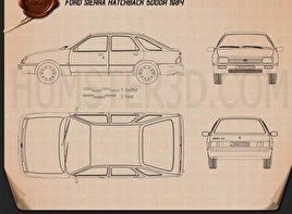 Ford Sierra hatchback 5-door 1984 Blueprint