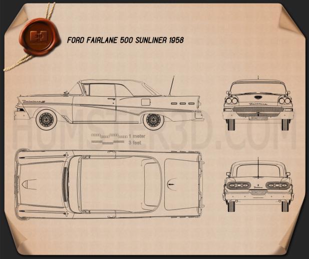Ford Fairlane 500 Sunliner 1958 Blueprint