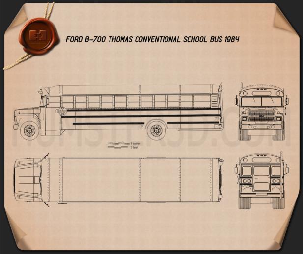 Ford B-700 Thomas Conventional School Bus 1984 Blueprint
