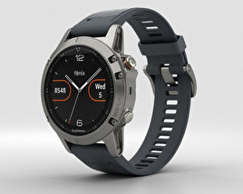 3D model of Garmin Fenix 5 Silver with Granite Blue Band