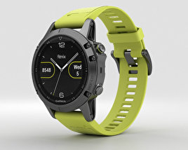 3D model of Garmin Fenix 5 Slate Gray with Amp Yellow Band