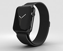 3D model of Apple Watch Series 2 38mm Space Black Stainless Steel Case Black Milanese Loop