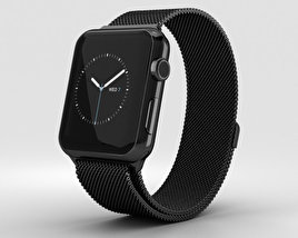 3D model of Apple Watch Series 2 42mm Space Black Stainless Steel Case Black Milanese Loop