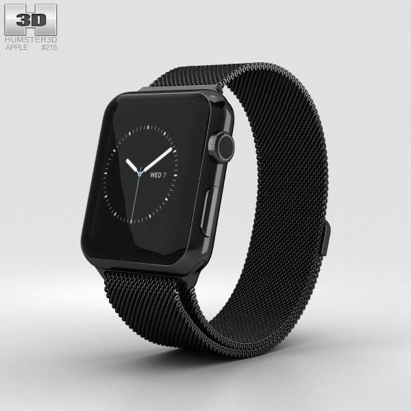 Apple Watch Series 2 42mm Space Black Stainless Steel Case Black Milanese Loop 3D model