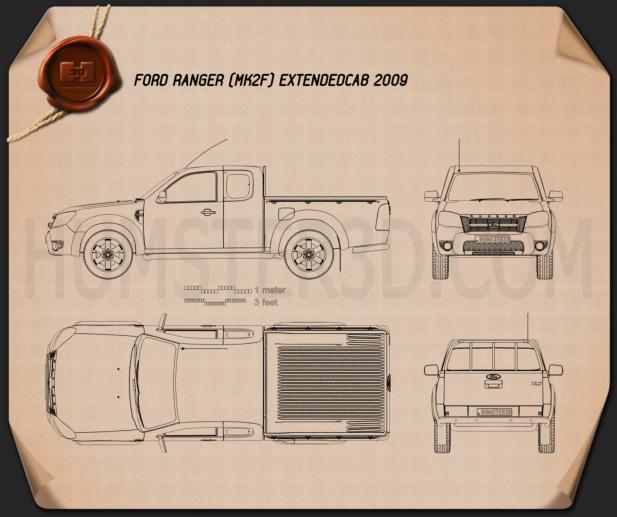Ford Ranger Extended Cab 2009 Blueprint