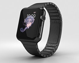 3D model of Apple Watch Series 2 38mm Stainless Steel Case Black Link Bracelet