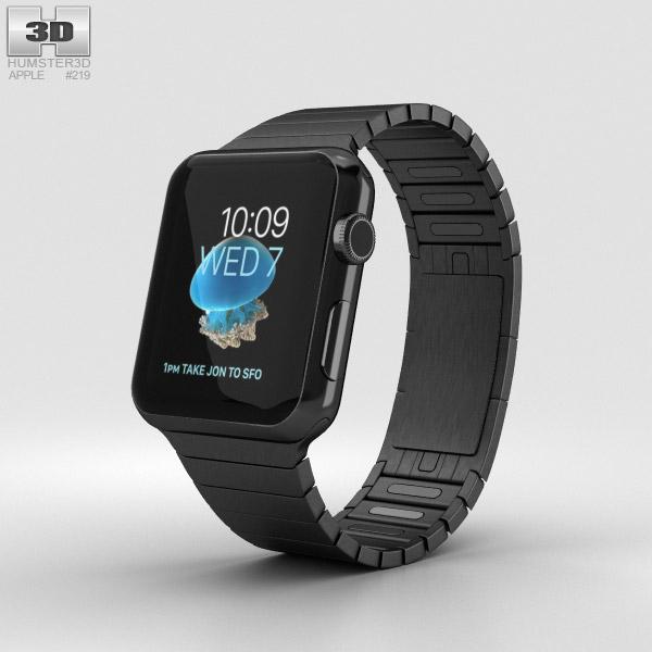 Apple Watch Series 2 42mm Stainless Steel Case Black Link Bracelet 3D model