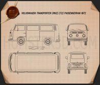 Volkswagen Transporter (T2) Passenger Van 1972 Blueprint