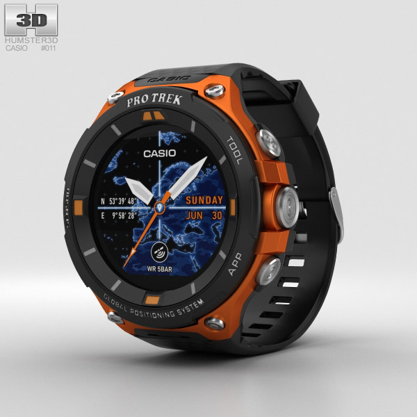 Casio Pro Trek WSD-F20 Orange 3D model