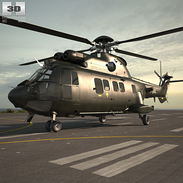 3D model of Eurocopter AS532 Cougar