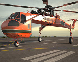 3D model of Sikorsky S-64 Skycrane